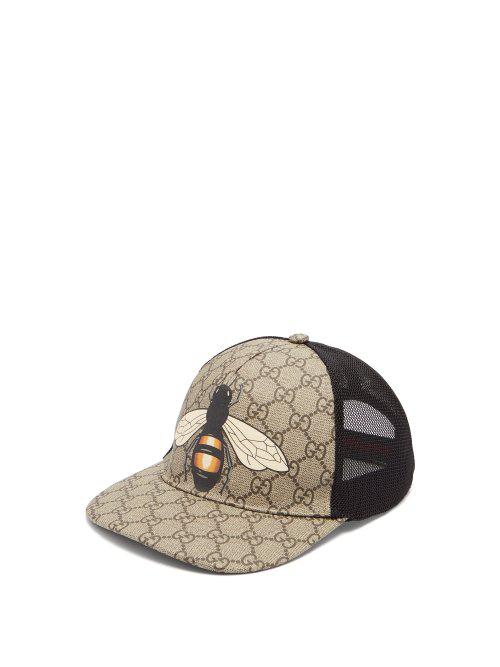 196994f8265e4 Gucci Bee Coated Gg Canvas   Mesh Baseball Hat