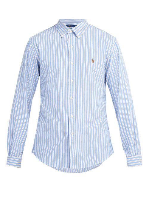 67017643 Polo Ralph Lauren Slim-Fit Striped Cotton Oxford Shirt In Blue Stripe