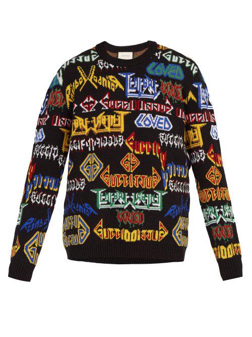 701d1f770e6 Gucci Men s Medley Logo Intarsia-Knit Sweater In Black