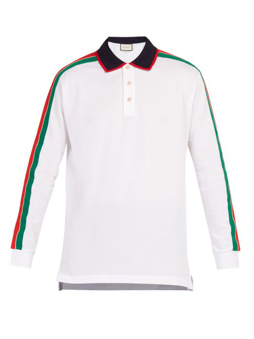 173ab4b2d42 Gucci Web-Stripe Long-Sleeved Cotton-PiquÉ Polo Shirt In White ...