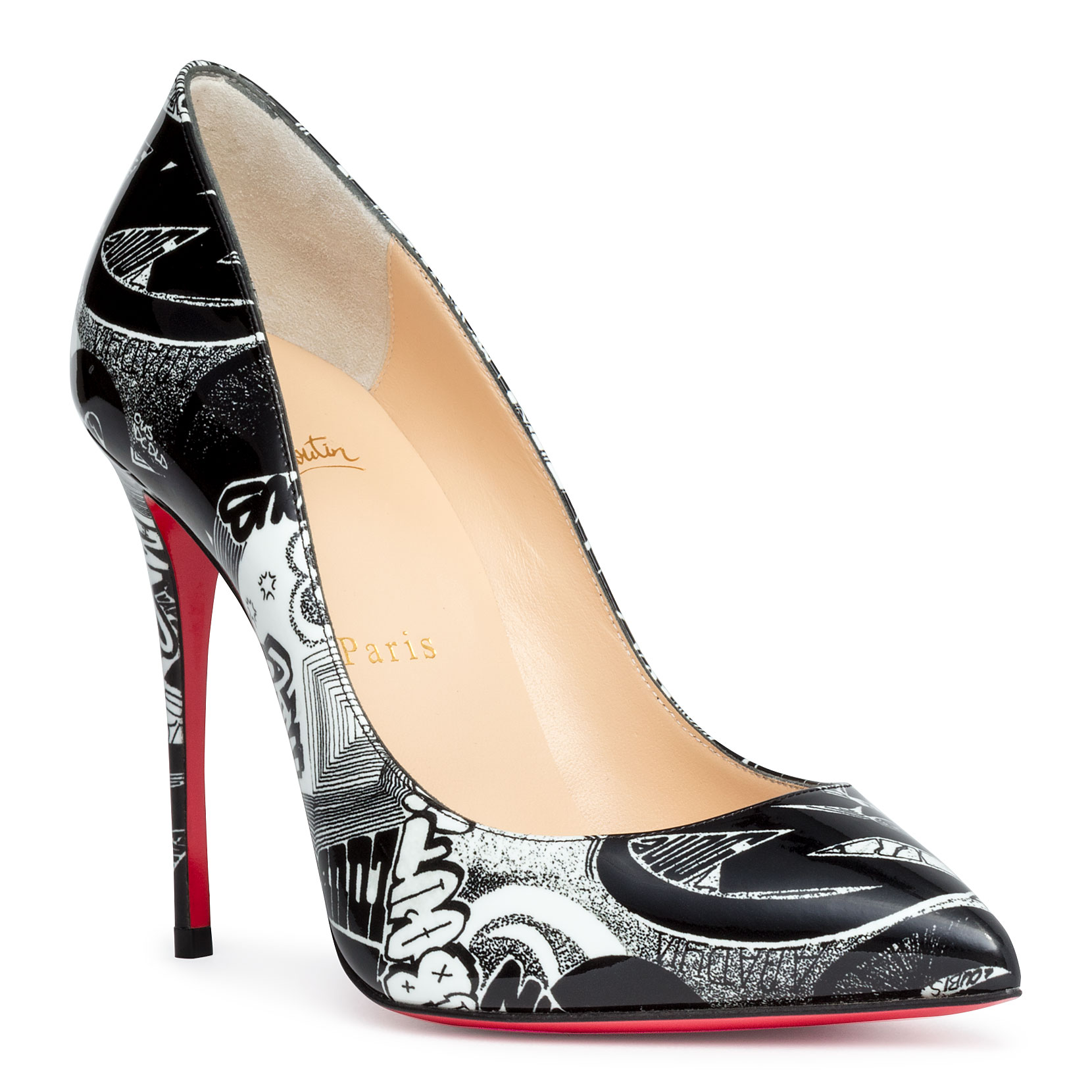 100 Pumps In Leather Black Follies Pigalle Nicograf Printed Patent 76bgfy