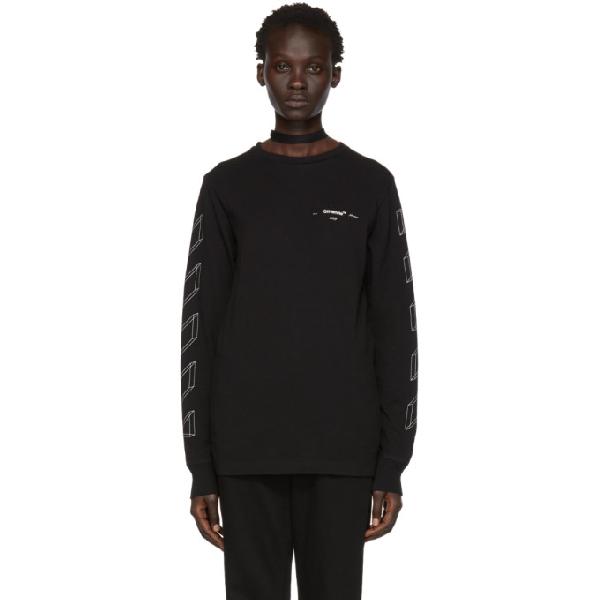 e837296d4ca4 Off-White Black Diag 3D Long Sleeve T-Shirt In Black White