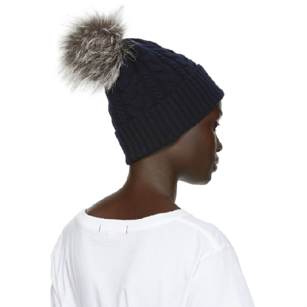 5588d6087e78f Moncler Navy Fur Cable Pom Pom Beanie In 742 Navy