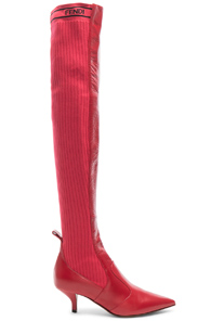 eae7a012c4f Fendi Rockoko Thigh High Boots In Red