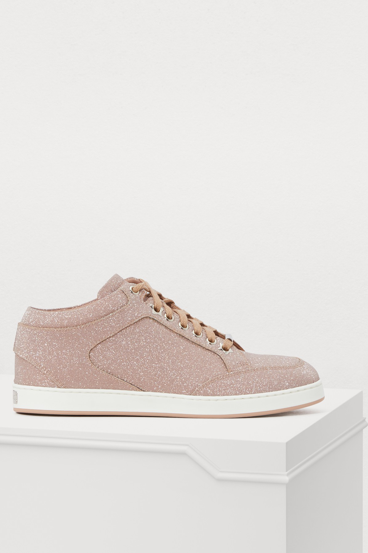3c24841578d3 Jimmy Choo Miami Leather And Glitter Sneakers In Pink