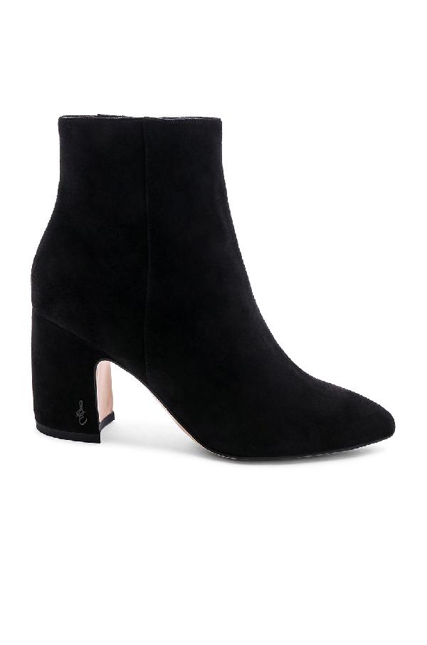 03cbb10c527d SAM EDELMAN Women s Hilty Pointed Toe Suede Block High-Heel Ankle Booties  in Black. Sam Edelman Women