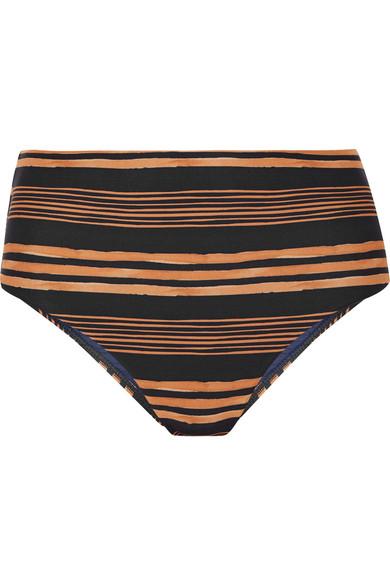 7af9245308 Vix Isabela Striped High-Waist Bikini Swim Bottoms In Navy | ModeSens