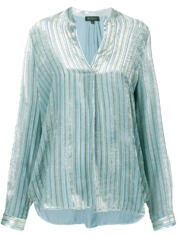 56132cd1b3584c Blue silk blend pinstripe blouse from Antonelli featuring a bordered deep V  neck