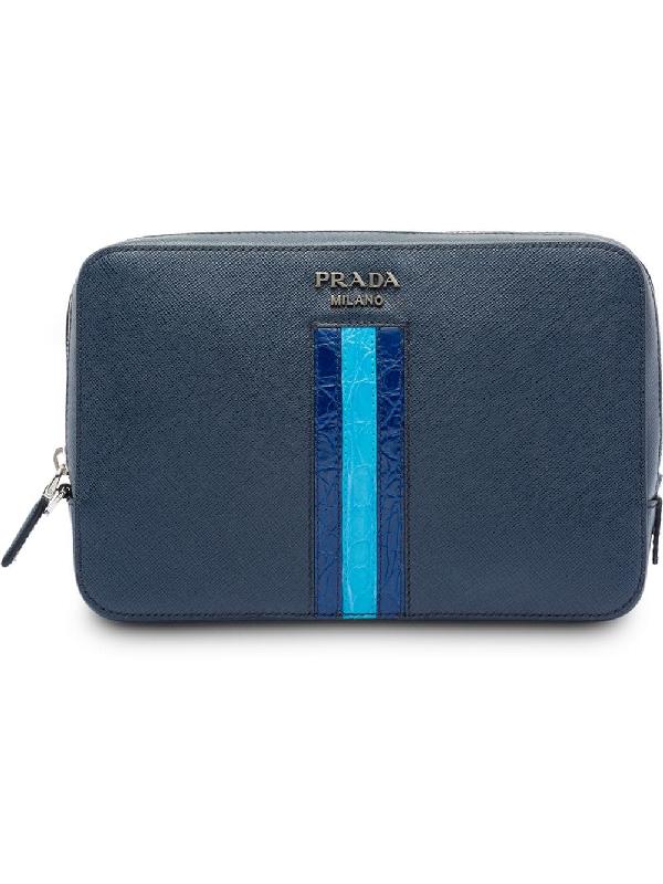 6cddb2c2474362 Prada Saffiano Leather Clutch Bag - Farfetch In Blue | ModeSens