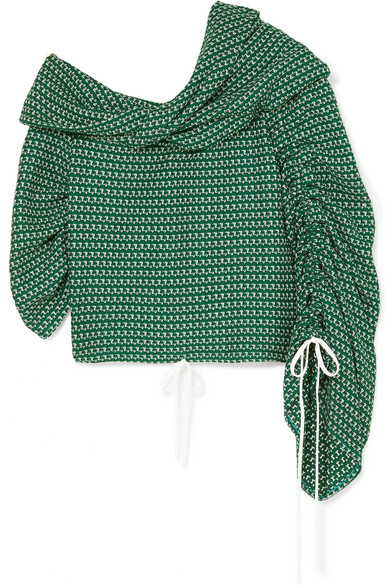 23974aa047bdd Hellessy Sunshine Off-The-Shoulder Asymmetric Ruched Crochet Jersey Top In  Green