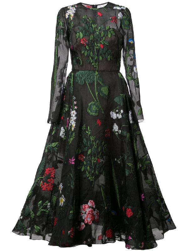 5e918009c2 Oscar De La Renta Long-Sleeve Belted Floral-Embroidered Fit-And-Flare