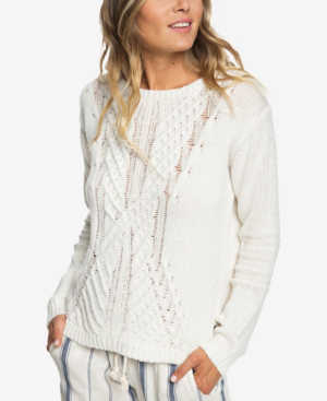 adc3fc48e Roxy Glimpse Of Romance Cable Knit Sweater In Marshmallow