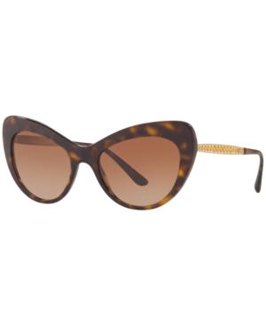 8fef064c111c Dolce & Gabbana Oversized Tortoiseshell Cat Eye Sunglasses In Brown ...