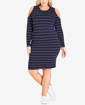 Trendy Plus Size Striped Cold-Shoulder Dress in Navy Stripe