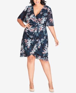 City Chic Trendy Plus Size Twisted Faux-Wrap Dress In Luna Floral ...