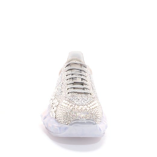 3643da002ec8 Jimmy Choo Diamond M Crystal Shimmer Suede Trainers With Crystal Application  And Chunky Platform