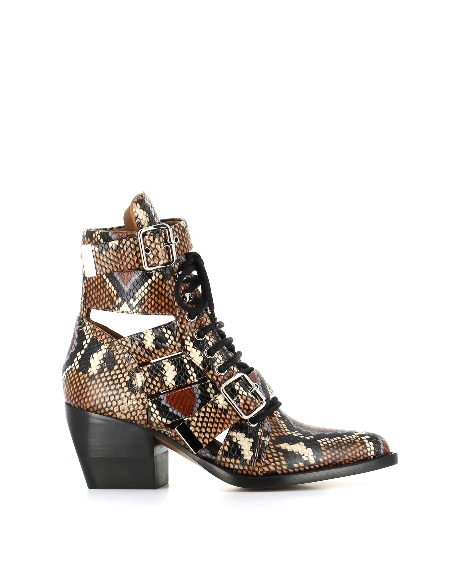 21fa056f0 ChloÉ Women s Rylee Snake-Embossed Leather Cutout Lace Up Booties In 15Za  Multi Purple