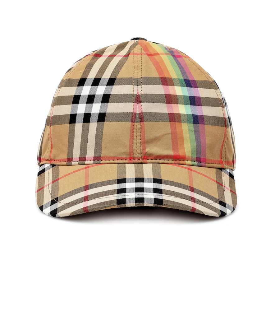 df4fa93452 Burberry Rainbow Stripe Vintage Check Baseball Cap In Brown