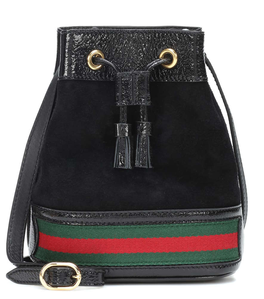 Gucci Ophidia Mini Textured Leather-Trimmed Suede Bucket Bag In Black Multi