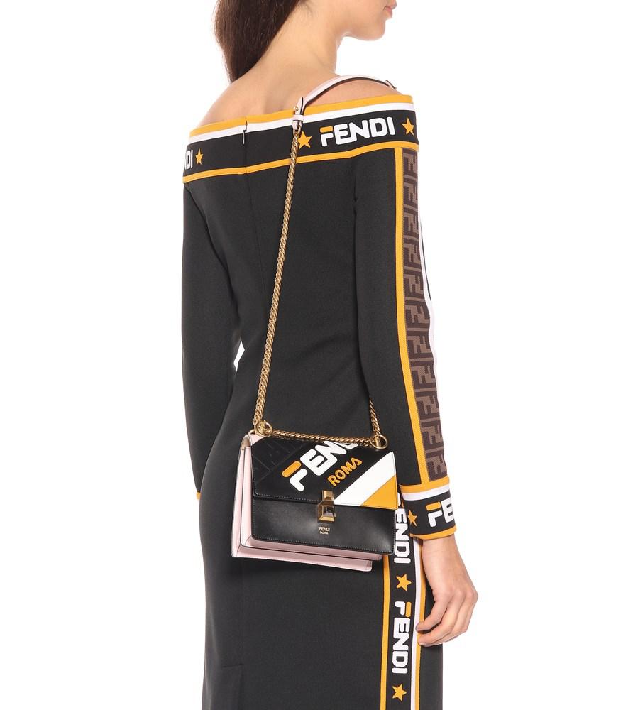 991b2ac239d7 Fendi X Fila Small Kan I Mania Logo Shoulder Bag - Black