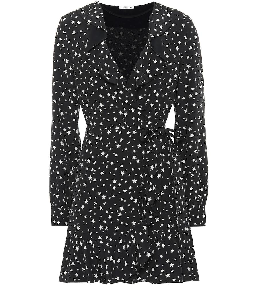 8ac0801dbc2 Miu Miu Ruffled Printed Silk-Crepe Wrap Mini Dress In Black