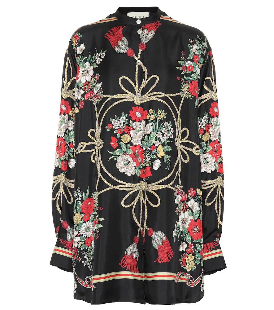 24d1f2b5ae559b Gucci Intrigue Floral And Tassel Print Button-Front Blouse In Black ...
