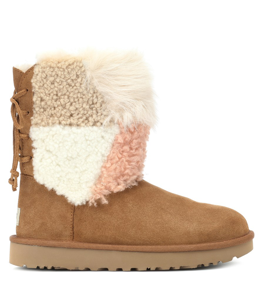 28c78d98f0d Classic Short Patchwork Fluff Shearling Boots in Brown