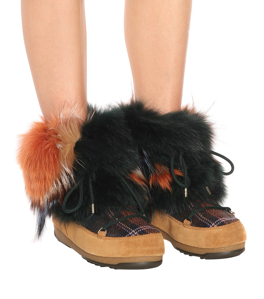 12fc483dc X Moon Boot® Fur Ankle Boots in Multicoloured