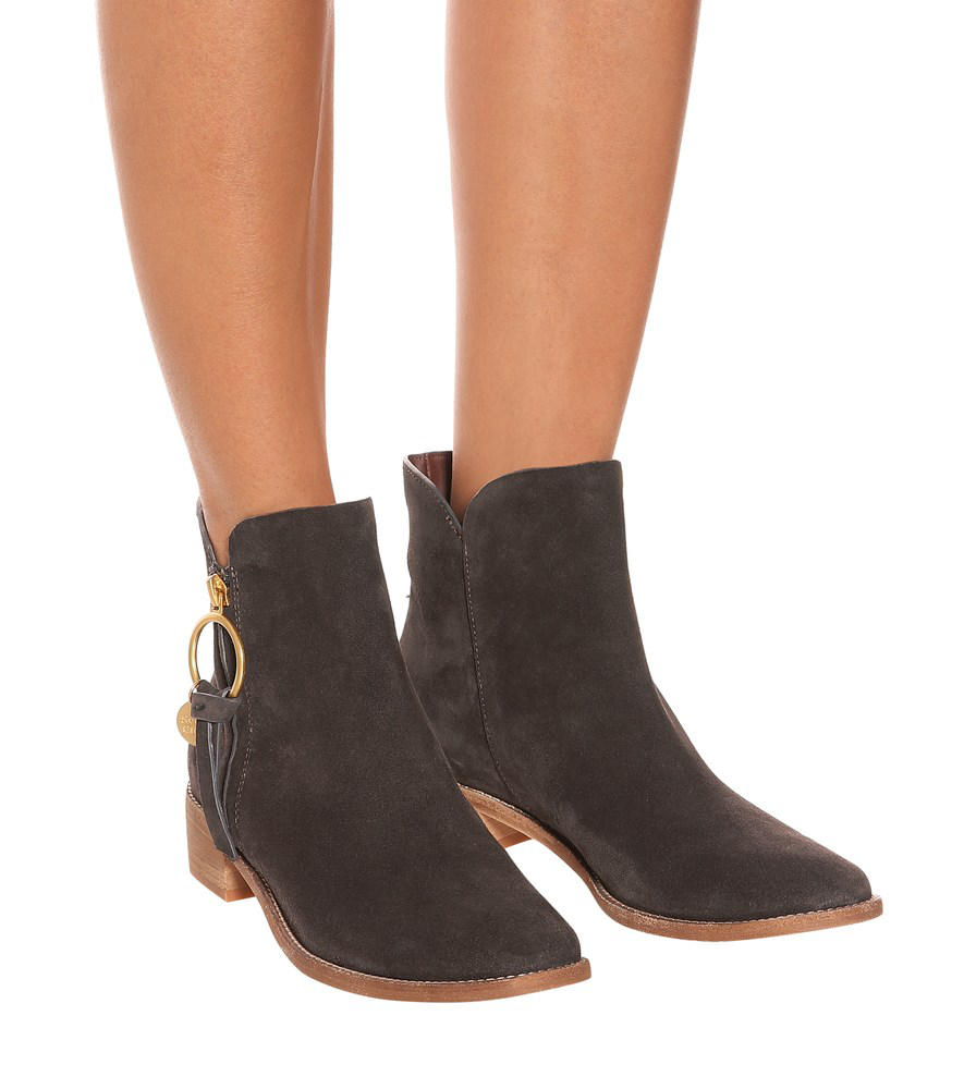 f235d1b4fd8 See By ChloÉ Louise Flat Suede Ankle Boots In Brown | ModeSens
