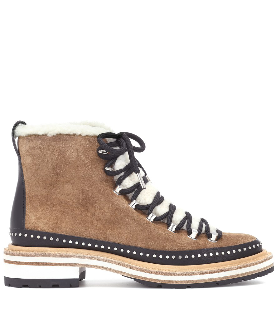 301973168ff Rag & Bone Compass Studded Leather And Shearling-Trimmed Suede Ankle Boots  In Tan