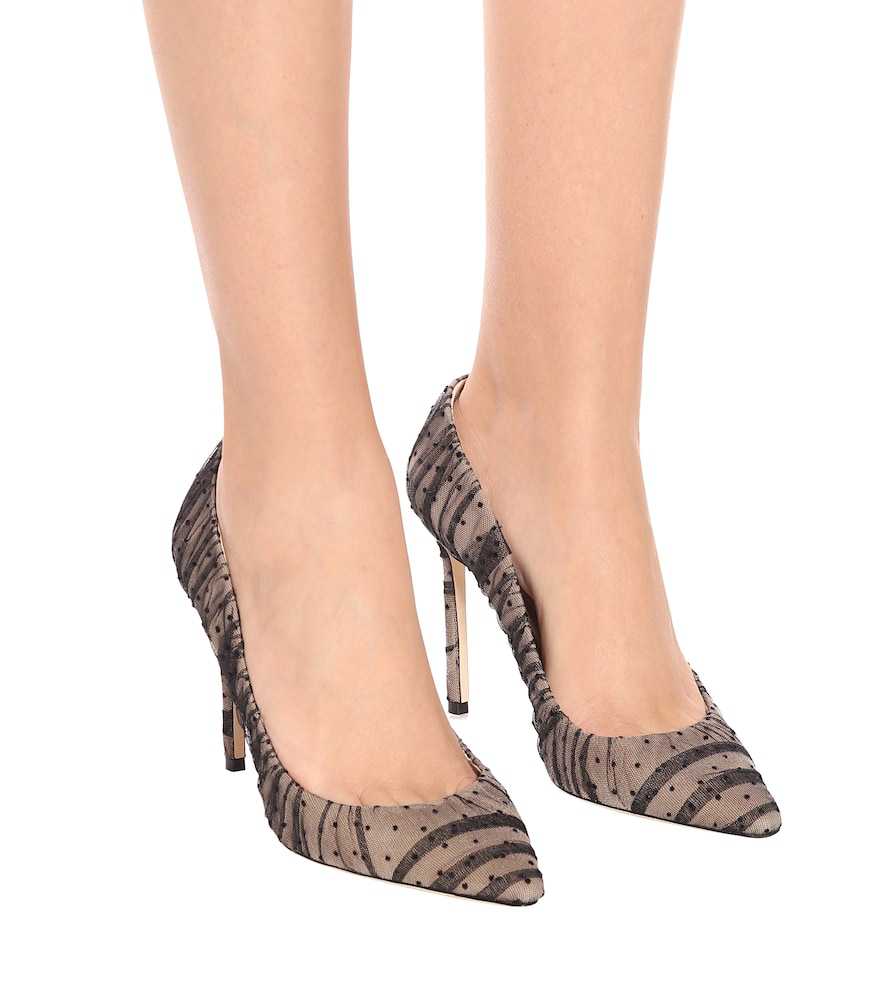 e5d2b047a6e Jimmy Choo Romy 100 Nude Suede Pointy Toe Pumps With Black Ruched Polka Dot  Tulle