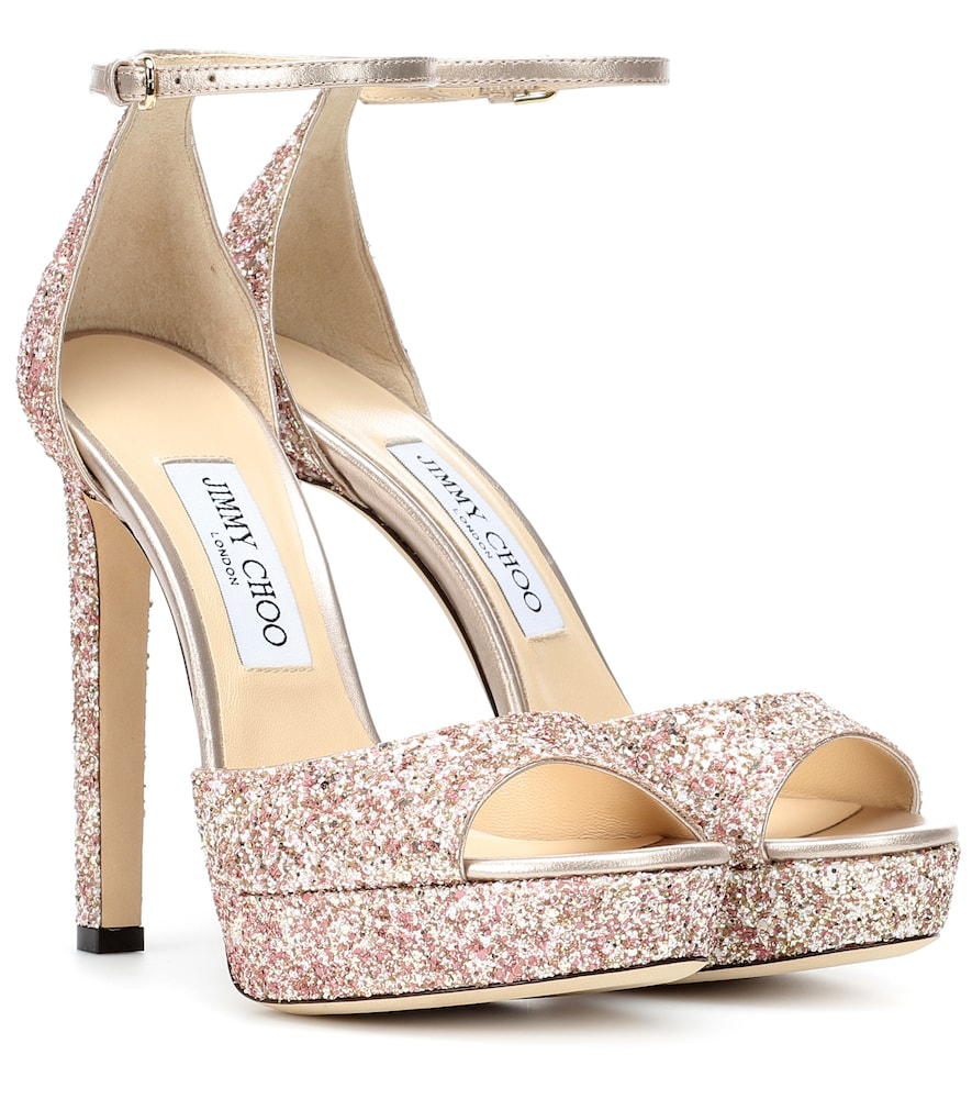 94f0794f982c Jimmy Choo Pattie 130 Rosewood Painted Glitter Fabric Open Toe Platform  Sandals In Pink