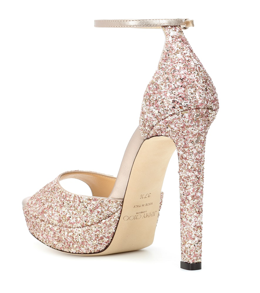 f163ac7cdcc Jimmy Choo Pattie 130 Rosewood Painted Glitter Fabric Open Toe Platform  Sandals In Rosewood Mix