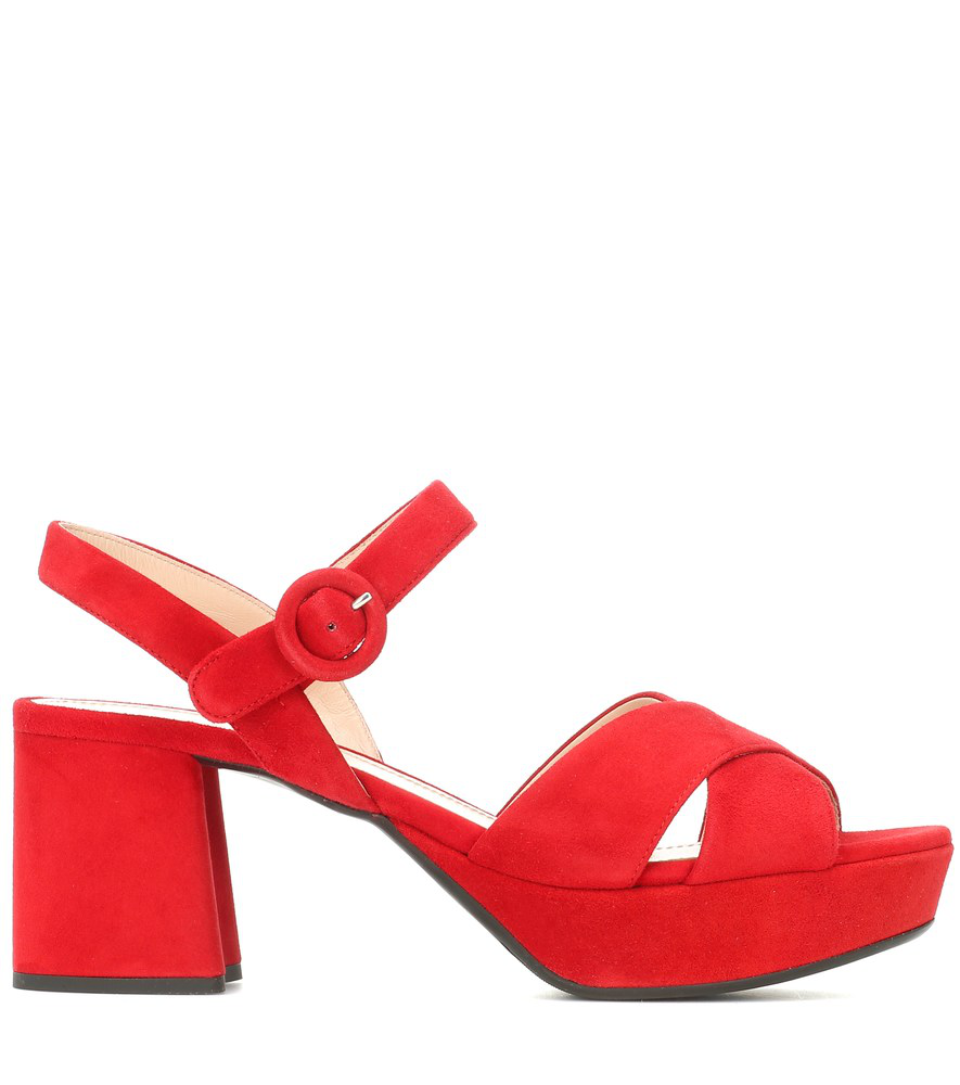 Prada Suede Crisscross Ankle-Wrap 65Mm Sandals In Red