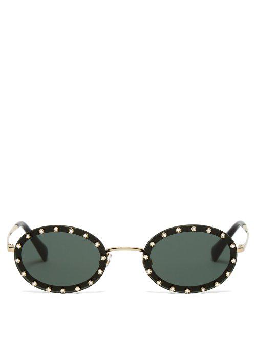 05ebbb3a79e Valentino 51Mm Crystal Rockstud Oval Sunglasses - Black  Green Solid In  Black Silver