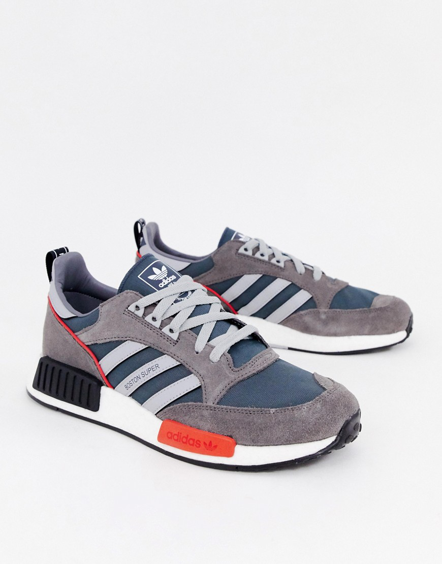 new style 75f01 be833 Adidas Originals Adidas Never Made Multicoloured Boston Super R1 Suede  Sneakers - Farfetch In Grey