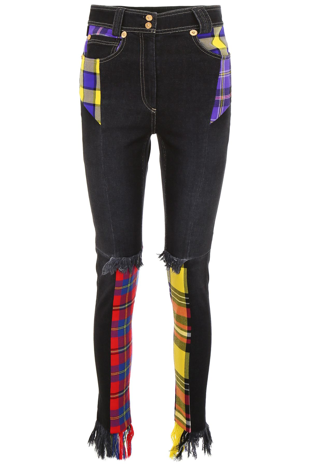VERSACE JEANS WITH TARTAN INSERTS,10719548