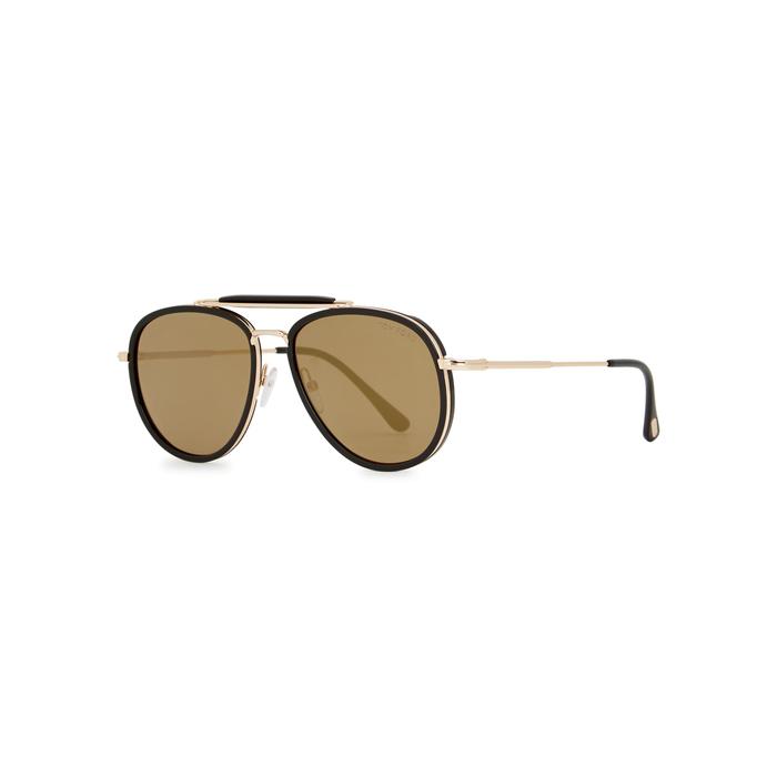 cfcb3b554b3 Tom Ford Tripp Aviator-Style Sunglasses In Black