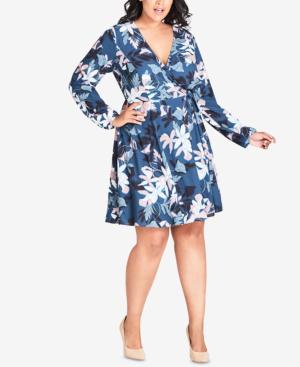 City Chic Trendy Plus Size Floral-Print Faux-Wrap Dress In Luna ...