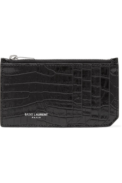 dd65935ee37 Saint Laurent Fragments Crocodile-Effect Leather Cardholder In 1000 Black
