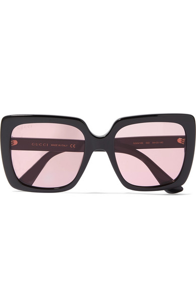 7a0c8ea68b0d8 Gucci Oversized Crystal-Embellished Square-Frame Acetate Sunglasses In Pink