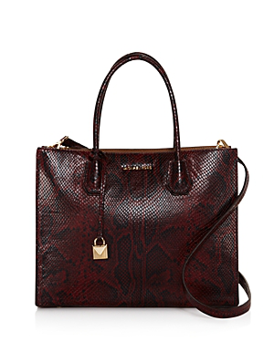 c3ea9486b835 Michael Michael Kors Large Mercer Python Tote - 100% Exclusive In  Oxblood/Gold