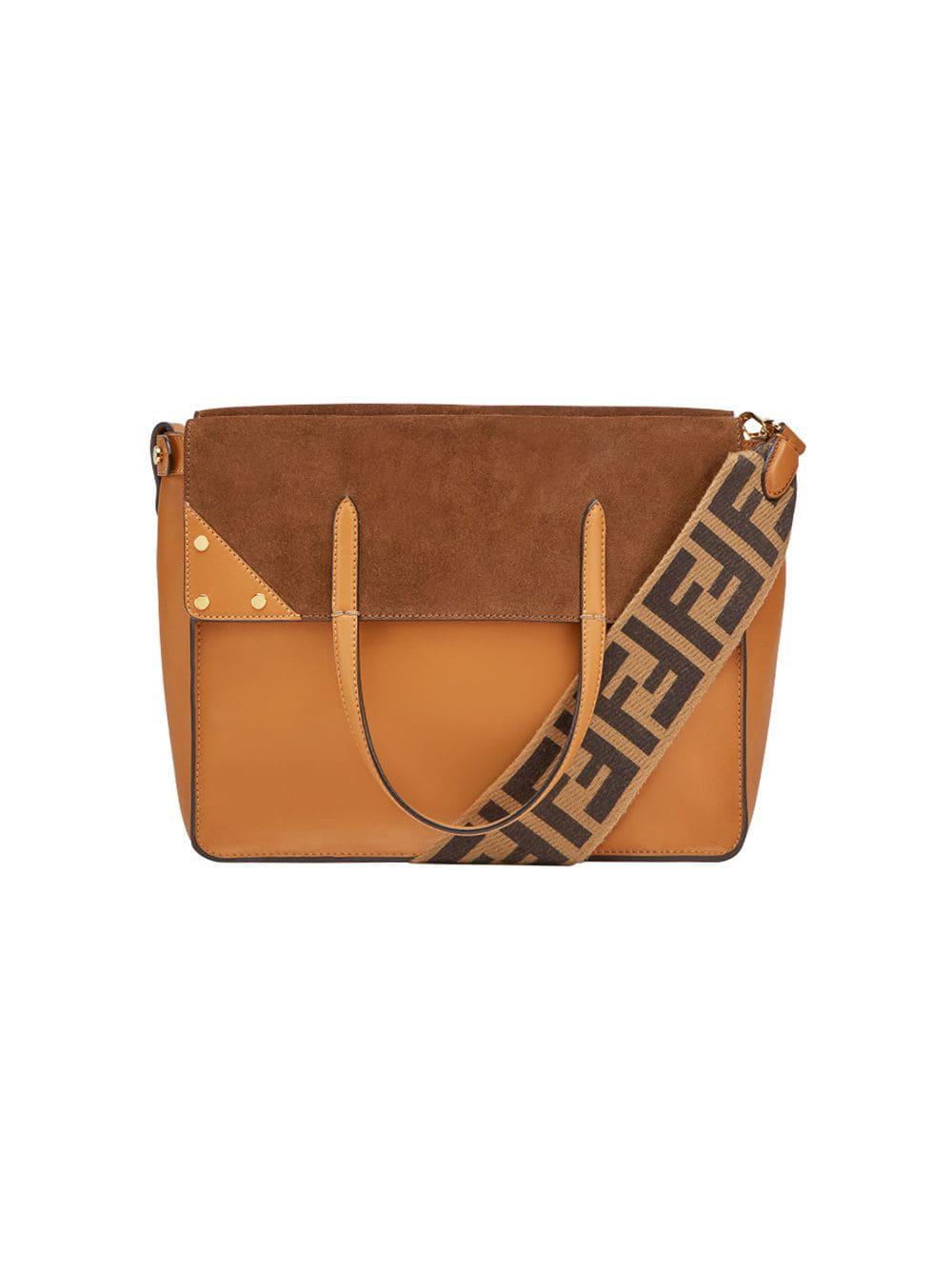 21dfc39f905d Fendi Flip Leather And Suede Shoulder Bag In Brown