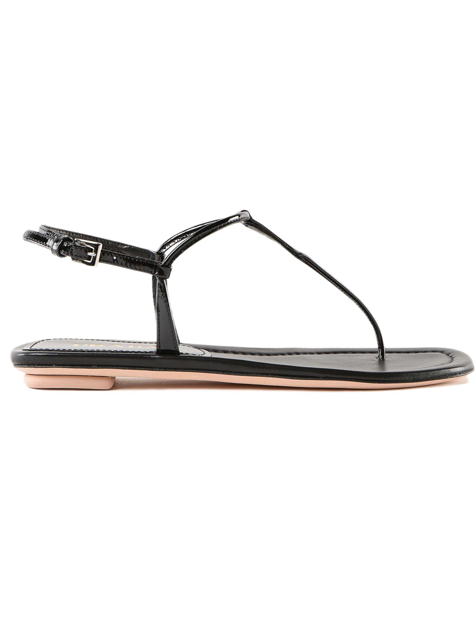 7d3c50e63 Prada Flat Patent Leather Thong Sandals In Black