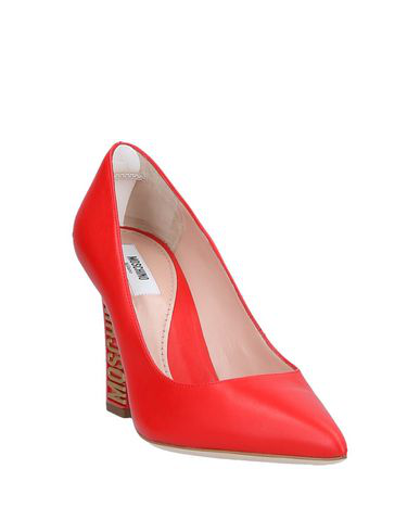 7616958a6e Moschino Gold Tone Logo Heel Red Leather Pumps | ModeSens