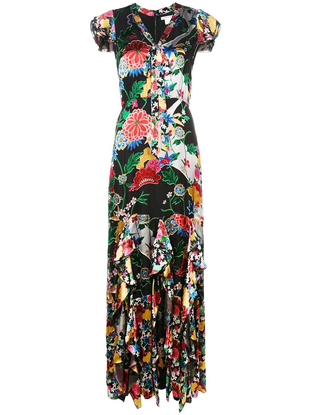189b4cd844f0 Alice And Olivia Laurette Ruffled Floral-Print Satin Maxi Dress In Black