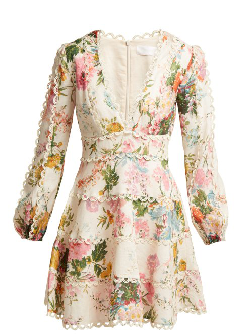 6f78fc2f482 Zimmermann Heathers Floral-Print Linen Long-Sleeve Mini Dress In Pink Print