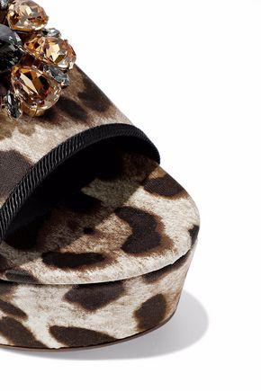 6692f5e95d4 Dolce   Gabbana Woman Crystal-Embellished Leopard-Print Twill Wedge Mules  Animal Print