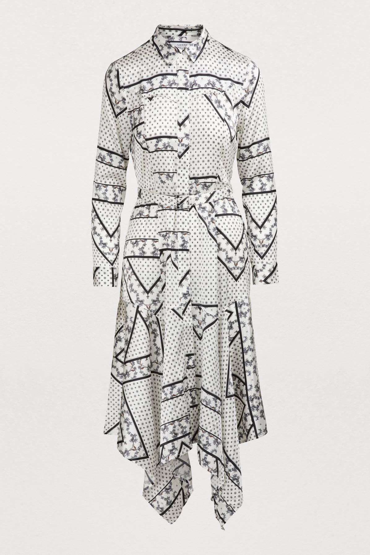 c1a551fa Ganni Blakeley Floral-Print Stretch-Silk Shirt Dress In White | ModeSens