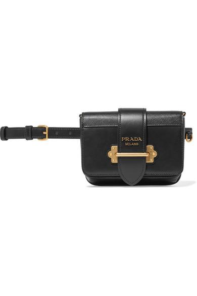2c48e62d2fcb Prada Cahier Leather Belt Bag In Black